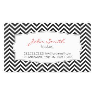 Dark Gray Chevron Stripes Mixologist Business Card