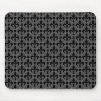 Dark Gray Fancy Fleur de lis Mousepad