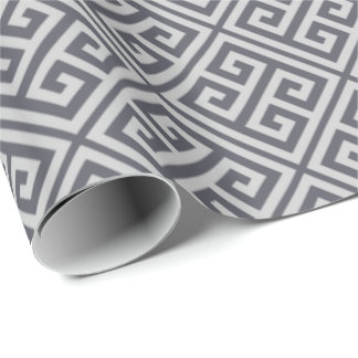Dark Gray Greek Key Wrapping Paper