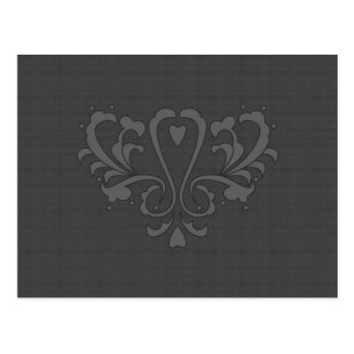 Dark Gray Heart Damask Post Card