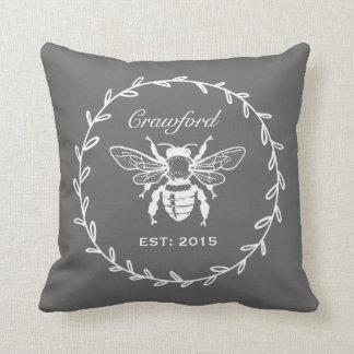Dark Gray Honey Bee Laurel Honeycomb Monogram Cushion