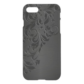 Dark Gray Metallic Background& Black Lace iPhone 8/7 Case