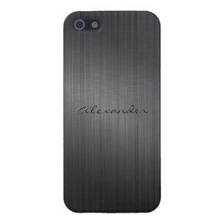 Dark Gray Metallic Brushed Aluminum Look iPhone 5/5S Cover