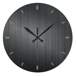 Dark Gray Metallic Design Brushed Aluminum Look Large Clock