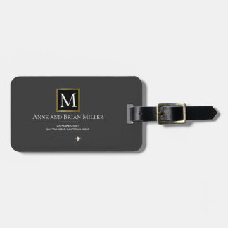 dark gray monogram with couple names luggage tag