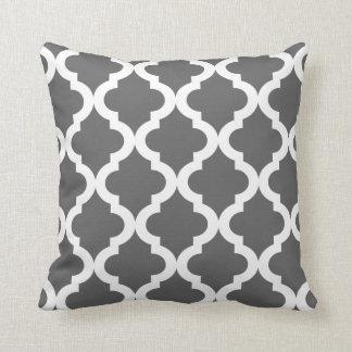 Dark Gray Moroccan Quatrefoil Print Cushion