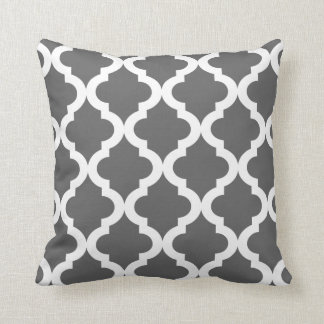 Dark Gray Moroccan Quatrefoil Print Throw Pillow