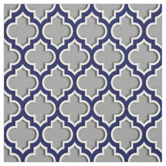 Dark Gray, Navy Blue Moroccan Quatrefoil #5DS Fabric