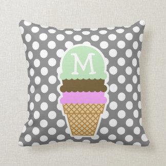 Dark Gray Polka Dots; Ice Cream Cone Cushion