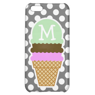Dark Gray Polka Dots; Ice Cream Cone iPhone 5C Case