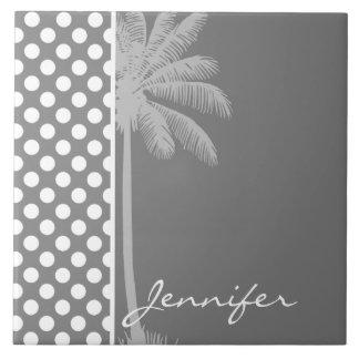 Dark Gray Polka Dots; Summer Palm Tile