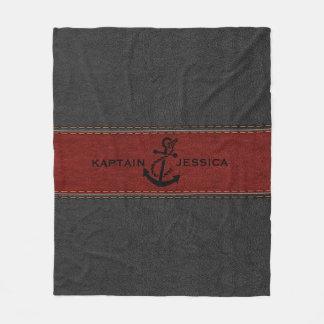 Dark-Gray & Red Vintage Leather Fleece Blanket