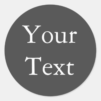 Dark Gray Wedding Envelope Seals with Custom Text Classic Round Sticker