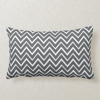 Dark gray whimsical zigzag chevron pattern lumbar pillow