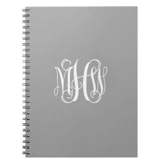 Dark Gray White 3 Initials Vine Script Monogram Note Book