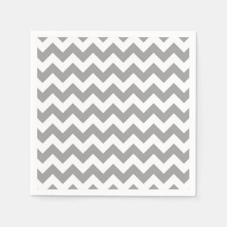 Dark Gray White Chevron Zig-Zag Pattern Disposable Napkin