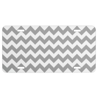 Dark Gray White Chevron Zig-Zag Pattern License Plate