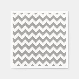 Dark Gray White Chevron Zig-Zag Pattern Paper Serviettes