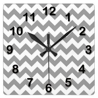 Dark Gray White Chevron Zig-Zag Pattern Square Wall Clock
