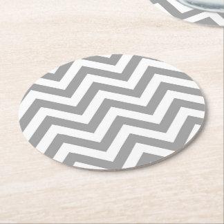 Dark Gray White Large Chevron ZigZag Pattern Round Paper Coaster
