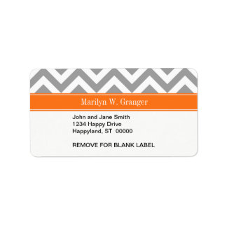 Dark Gray White LG Chevron Pumpkin Name Monogram Address Label