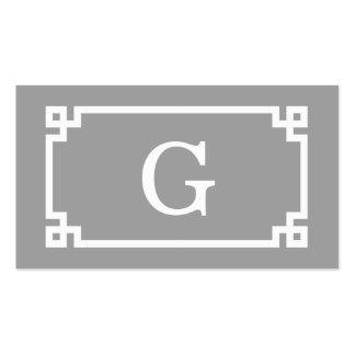 Dark Gray Wht Greek Key Frame #2 Initial Monogram Pack Of Standard Business Cards