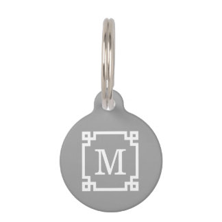 Dark Gray Wht Greek Key Frame #2 Initial Monogram Pet Tag