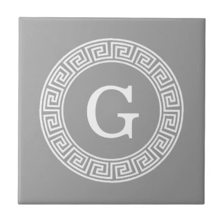 Dark Gray Wht Greek Key Rnd Frame Initial Monogram Ceramic Tile