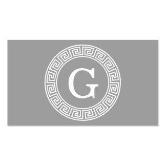 Dark Gray Wht Greek Key Rnd Frame Initial Monogram Pack Of Standard Business Cards