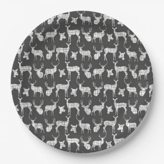 Dark Gray With White Deer Paper Plates