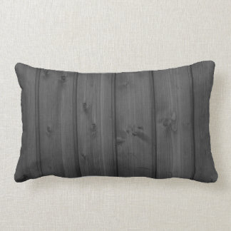 Dark Gray Wood Texture Lumbar Pillow