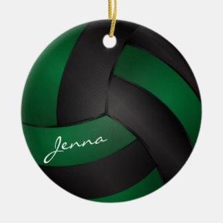 Dark Green and Black Personalize Volleyball Round Ceramic Decoration