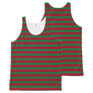 Dark Green and Burgundy Stripes All-Over Print Singlet