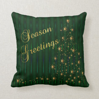Dark Green and Gold Star Christmas Tree Throw Pillow