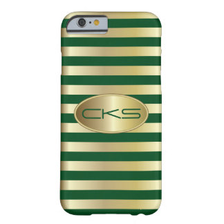 Dark Green and Gold Stripes | Monogrammed Barely There iPhone 6 Case