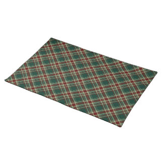 Dark Green and Maroon Christmas Plaid Placemat