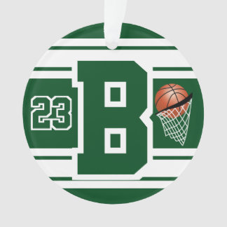 Dark Green and White Basketball Letter & Number Ornament