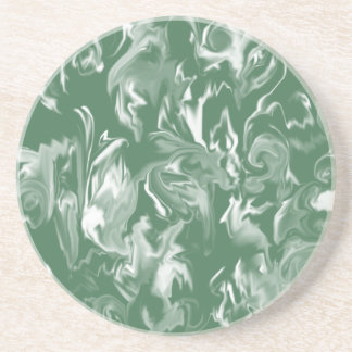 Dark Green and White design mixed color coasters