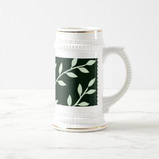 Dark Green And White Elegant Leafy Branches Design Coffee Mugs