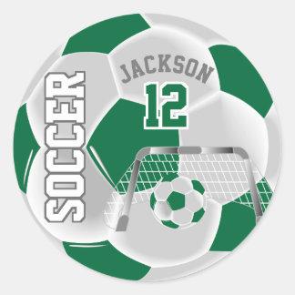 Dark Green and White Soccer Ball Classic Round Sticker