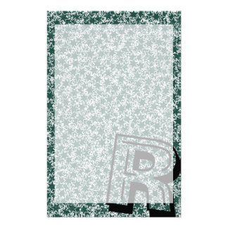 Dark Green and White Star Team Spirit Sports Color Personalized Stationery
