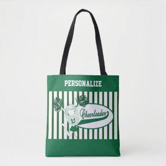 Dark Green and White Stripe Cheerleader Girl Tote Bag