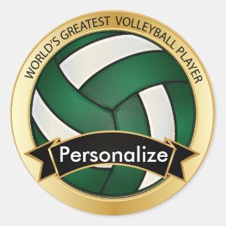 Dark Green and White Volleyball Round Sticker