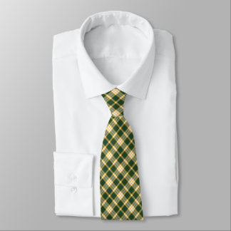 Dark Green and Yellow Gold Sporty Plaid Tie