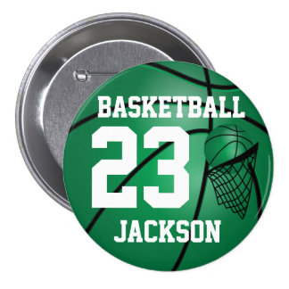 Dark Green Basketball and Hoop | DIY Text 7.5 Cm Round Badge