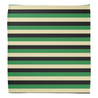 Dark Green, Beige and Black Stripes Bandana