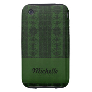 Dark  green black damask tough iPhone 3 cases