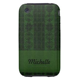 Dark  green black damask tough iPhone 3 covers