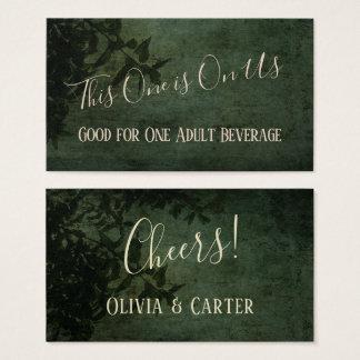 Dark Green & Black Rustic Vintage Drink Tickets