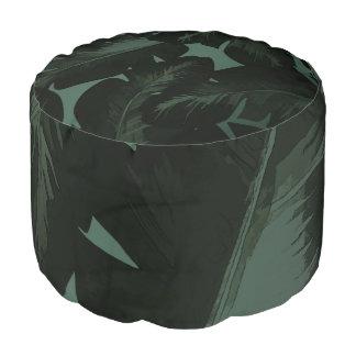 Dark Green & Black Tropical Palm Leaves Pouf